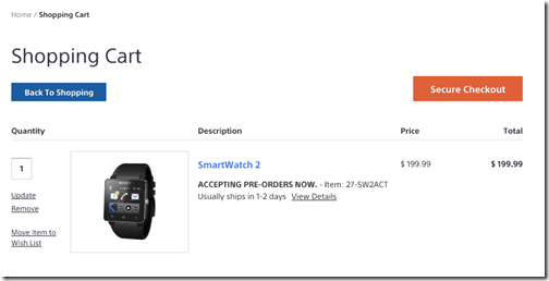 Sony SmartWatch Order Page