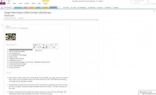 A recipe clipped via the OneNote Web clipper. Note that the text is nicely formatted and can be copied and formatted.