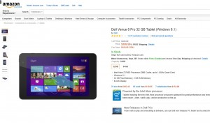 Dell Venue 8 Pro 32GB for $199 at Amazon
