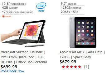Costco Surface 3 v iPad Air 2