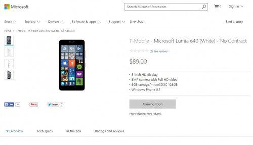 Lumia 640 Pricing