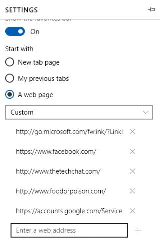 Microsoft Edge Default Tabs